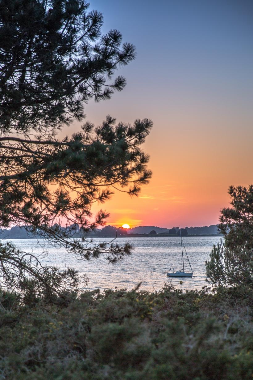 coucher de soleil, Sarzeau, Bateau, Mer